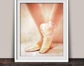 Beautiful Ballet Slipper Art Print for a Girl's Room | Ballet Recital Little Dancer Soft Pink