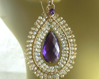 Purple Amethyst, Swarovski crystal