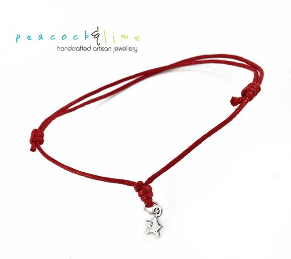 Star Wish bracelet // red waxed cotton // sterling silver charm wish friendship bracelet // handmade // ready to ship