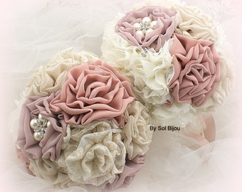 Bridesmaids Bouquets, Ivory, Tan, Blush, Rose, Dusty Rose, Brooch Bouquets, Wedding, Maid of Honor, Lace, Pearls, Crystals, Elegant
