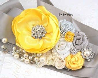 Sash Bridal Wedding Gold Burnt Orange Brown Tan Beige By