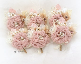 Boutonnieres,Blush,Tan,Beige,Champagne,Ivory,Rose,Corsages,Groomsmen,Elegant Wedding, Vintage Style,Gatsby,Button Hole,Groom, Fabric, Pearls