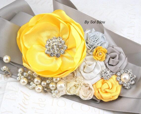 Sash, Bridal, Wedding, Maid of Honor, Flower Girl, Yellow, Silver, Gray, Ivory, Crystals, Satin, Pearls, Elegant, Vintage, Garden