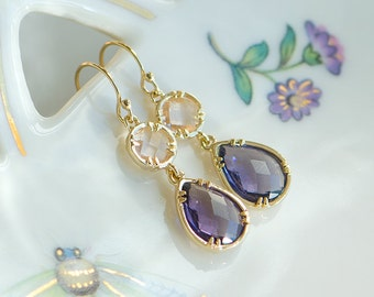 Purple and peach earrings, Purple drop earrings, Purple wedding