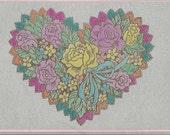 Flower Filled Heart Post Card