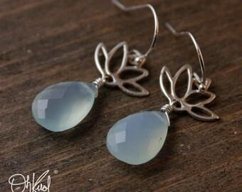Silver Aqua Blue Chalcedony Earrings - Lotus Flower - 925 Hooks