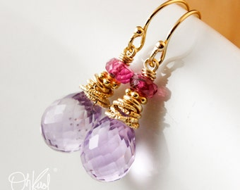 Gold Pink Amethyst Earrings - Pink Tourmaline - 14K Gold Filled