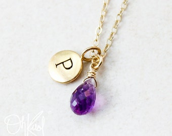 Purple Amethyst Necklace - February Birthstone - Initial Necklace