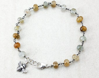 Golden Rutile Quartz Charm Bracelet - Honey Bee - Silver