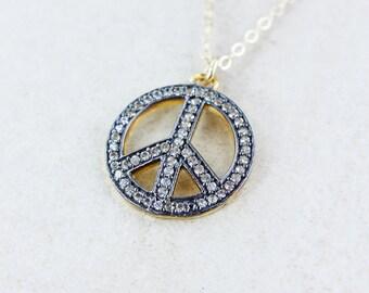 Gold Peace Symbol Necklace - Pave White Topaz - 14K GF