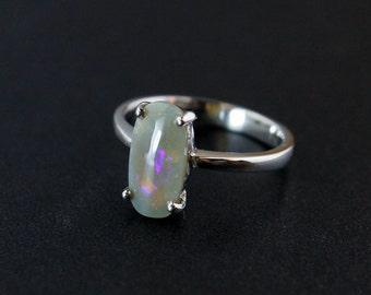 50% OFF SALE - Oval Australian Opal Ring - Neon Purple - October Birthstone
