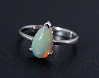 50% OFF SALE - Green Opal Ring - White Australian Opal - October Birthstone