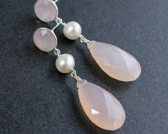 Bridal Pink Chalcedony Earrings - Pink Chalcedony and White Fresh Water Pearls