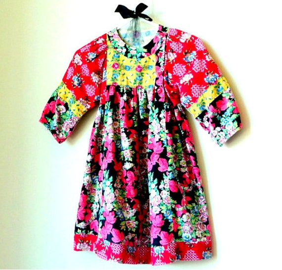 Floral Red - Daisy Girls Dress - Colorful Cotton - Patchwork - REBECCA - 90s - Girls Romantic - Rose Gypsy Ethnic Boho - Recycled - UNIQUE
