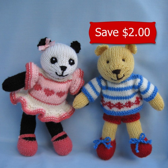 Cherry Blossom Panda and Butternut Bear - 2 knitting patterns - INSTANT DOWNLOAD