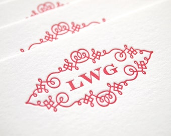 Trellis Monogram Letterpress Stationery - Personalized Set of 25 Flat Notes - Paper Anniversary