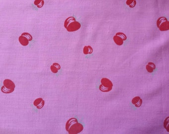 Vintage Pink Fabric with Flocked Red Velvet Apples