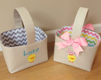 Personalized linen easter basket with chicken applique