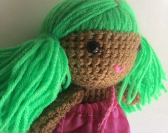 Handmade doll, crochet toy, doll, bright green hair, brown skin doll, multicultural doll, custom dolls, ready to ship