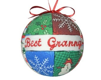 Best Granny Handmade Christmas Ornament Kimekomi Quilted Gift Ready To Ship by CraftCrazy4U on Etsy