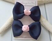 Navy and Pink Tuxedo Hair Bows, Navy Tuxedo Bows, Girls Navy Hair Bows, Baby Hair Bows, Piggy Tail Bows, Pink and Navy Piggy Tail Bows
