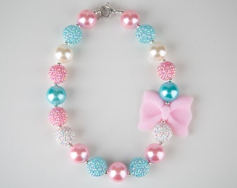 Pink and Aqua Chunky Necklace, Girls Chunky Necklace, Aqua and Pink Bubblegum Necklace, Spring Chunky Necklace, Photo Prop, Easter Necklace