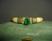 On Hold For Yuffie 303 ... Vintage Bracelet Bangle Malachite And Bone Hinged Bracelet Ivory Color Tone Green