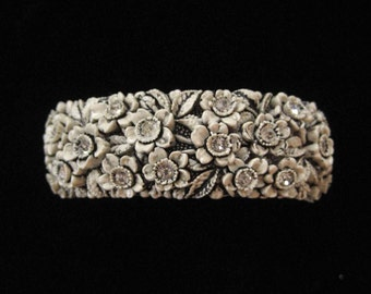 Black and White Molded Celluloid Clamper Bracelet, Forget Me Nots