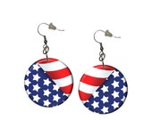 Patriotic Earrings USA Earrings American Patriotic Stars and Stripes Earrings Cute Fun Red White Blue 4th of july