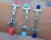Pick Color / Size Horse Bracelet Gunmetal / Platinum Color Equestrian Charm Bracelet Horse Snaffle Bit Bracelet Faux Suede Bracelet Gift sc1