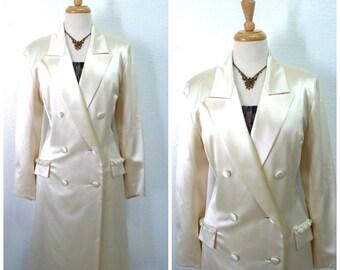 Jacket - Coat Pamela Dennis Couture Ivory Vintage 60s Evening Wedding Formal Women M