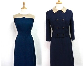 Vintage 1950s Dress and Jacket 2 Pc Suit I. MAGNIN Navy blue Small