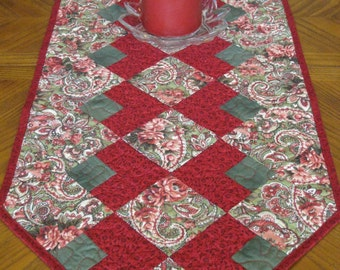 SALE Paisley and Red Table Runner