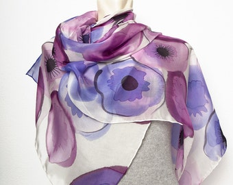 Present Extra Large 21.7 X 61 Hand Painted Real Silk Chiffon Scarf with Purple Blue Anemones Poppies Background