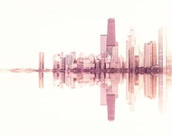 Chicago Wall Art Print - Skyline Photography - Pink White Abstract - soundwave, blush, beige, photograph city, feminine decor, rose gold