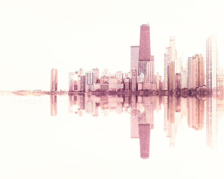 Chicago Wall Art chicago wall art print skyline photography pink white
