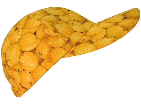 Lemon Zinger - SIZE SMALL - Bright Yellow Lemons Ladies Girls Fun Fruit Fashion Baseball Cap Hat