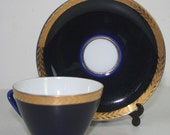 Soviet Vintage LOMONOSOV Porcelain espresso coffee cup  & saucer Set Cobalt Blue  gold wheat on Sale