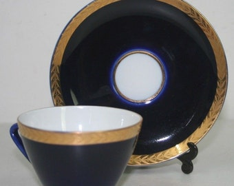 LOMONOSOV Porcelain Cobalt Blue  coffee cup  & saucer  gold wheat USSR Soviet Vintage