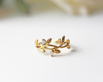 Gold Cubic Zirconia Branch Leaves Adjustable Ring Olive Branch Crystal Modern Feminine
