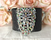 Jeweled Wide Black Leather Statement Cuff featuring Vintage Deco Fruit Salad Sweater Clip - Vintage Assemblage Nostalgia by Boutique Bijou