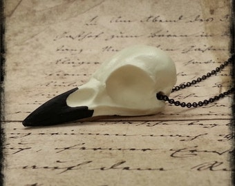 "Natural Crow Skull Pendant Necklace Gothic Gift Idea Cast Resin Replica 2.5"" Magpie Skull"