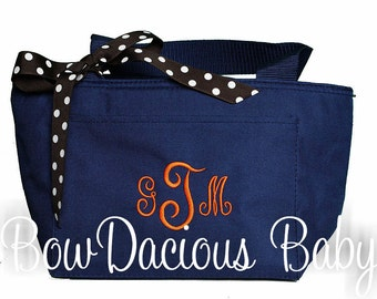 Monogrammed Lunch Bag, Personalized Lunch Box, Initial Lunch Box, School Lunch Bag, Work Lunch Tote, You Pick Colors and Font