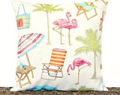 Flamingos Pillow Cover Cushion Coastal Tropical Outdoor Indoor Palm Trees Beach Pink Green Turquoise Blue Orange Red Yellow Decorative 16x16
