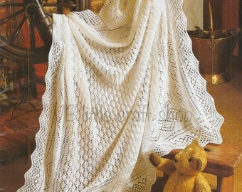 Baby's shawl knitting pattern. Size: 50x50ins. Instant PDF download!