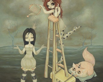 LOWBROW misfit hobo princess girl fantasy fine art pop surreal print - Water Me