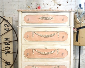 Painted Cottage Chic Shabby Romantic French Chest/ Dresser SSCH18