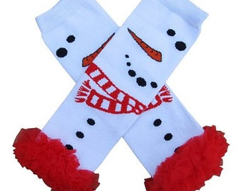 Holiday Snowman Red and white  leg warmers chiffon ruffles newborn-toddler-