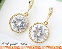 Pamela - Wedding Bridal Bridesmaid earrings, Sparkly Cubic Zirconia Earrings, Gifts for her, bridesmaid jewelry, Big Diamond Earrings