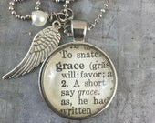 One Word Dictionary Necklace- Grace with Angel Wing Charm